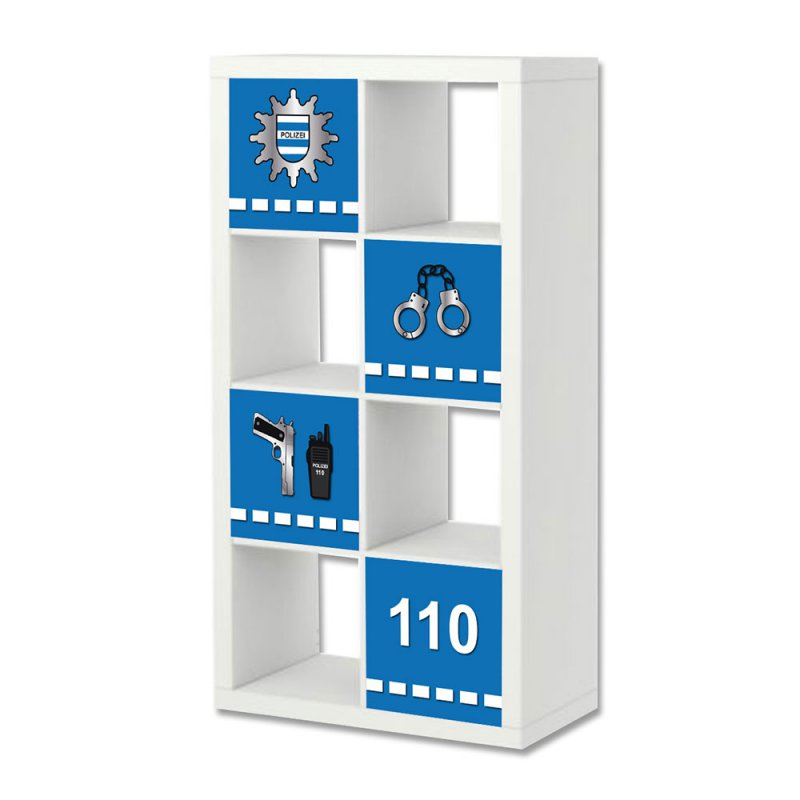 polizei aufkleber f r regal expedit kallax von ikea 24 95 eu. Black Bedroom Furniture Sets. Home Design Ideas