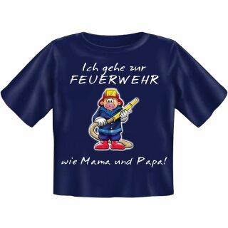 """Kinder-Shirt """"Ich gehe zur Feuerwehr wie Mama und Papa"""" 110/116"""