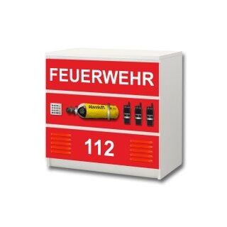 Feuerwehr-Aufkleber für Komode MALM von IKEA - 3 Fächer (2)