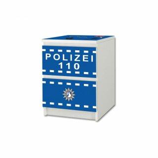 Polizei-Aufkleber für Komode MALM von IKEA - 2 Fächer
