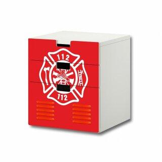 Feuerwehr-Aufkleber für Komode STUVA von IKEA - 3 Fächer (3)