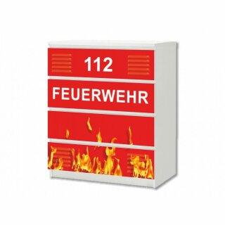 Feuerwehr-Aufkleber für Komode MALM von IKEA - 4 Fächer (1)