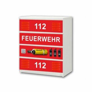 Feuerwehr-Aufkleber für Komode MALM von IKEA - 4 Fächer (2)