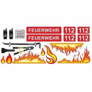 Feuerwehr-Aufkleber-Set Flammen