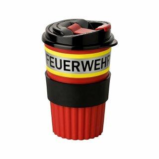 Coffee To-Go Becher, rot in Feuerwehroptik
