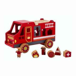 Steckbox Feuerwehrauto aus Holz