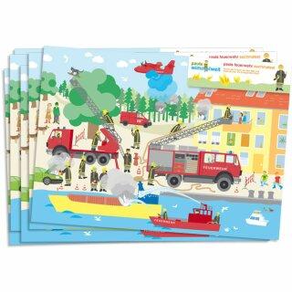 Platzsets zum Ausmalen - Motiv Feuerwehr 1